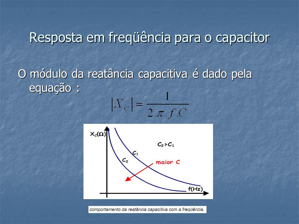 Resposta em freqüência para o capacitor O módulo da reatância capacitiva é dado pela equação :