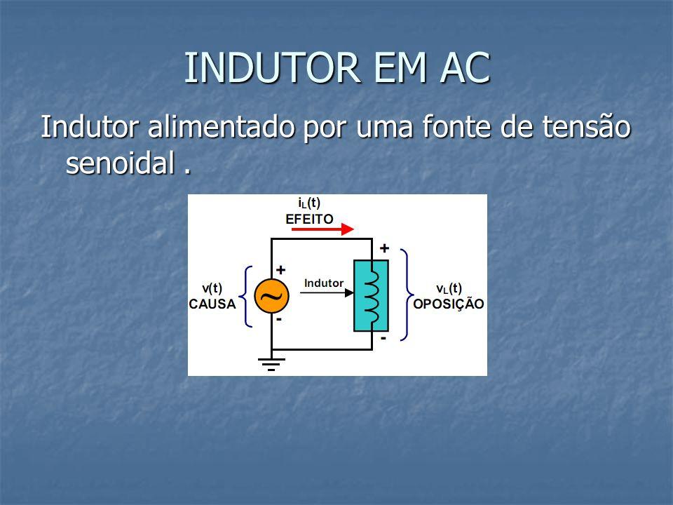 INDUTOR EM AC Indutor alimentado por uma fonte de tensão senoidal.