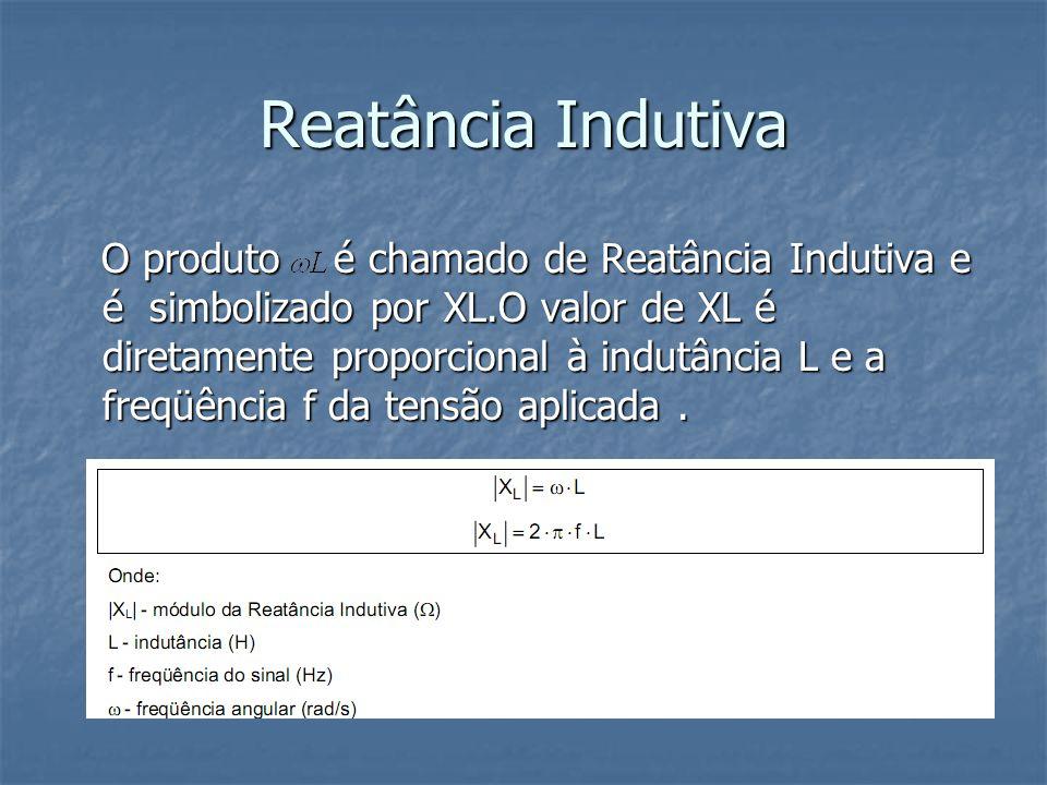 Reatância Indutiva O produto é chamado de Reatância Indutiva e é simbolizado por XL.O valor de XL é diretamente proporcional à indutância L e a freqüê