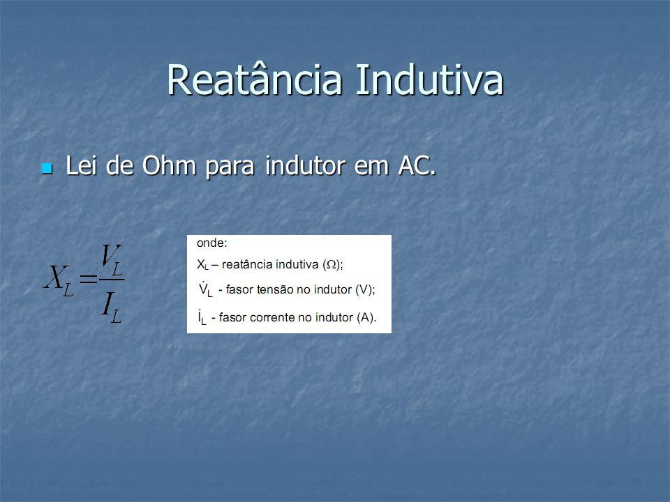 Reatância Indutiva Lei de Ohm para indutor em AC. Lei de Ohm para indutor em AC.