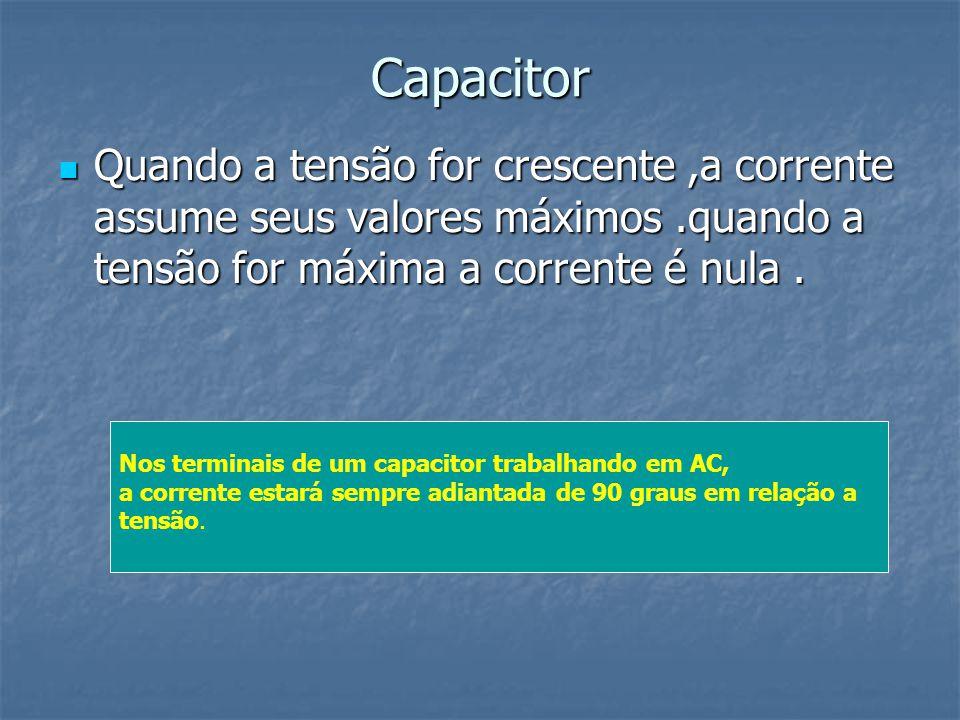 Capacitor Quando a tensão for crescente,a corrente assume seus valores máximos.quando a tensão for máxima a corrente é nula. Quando a tensão for cresc
