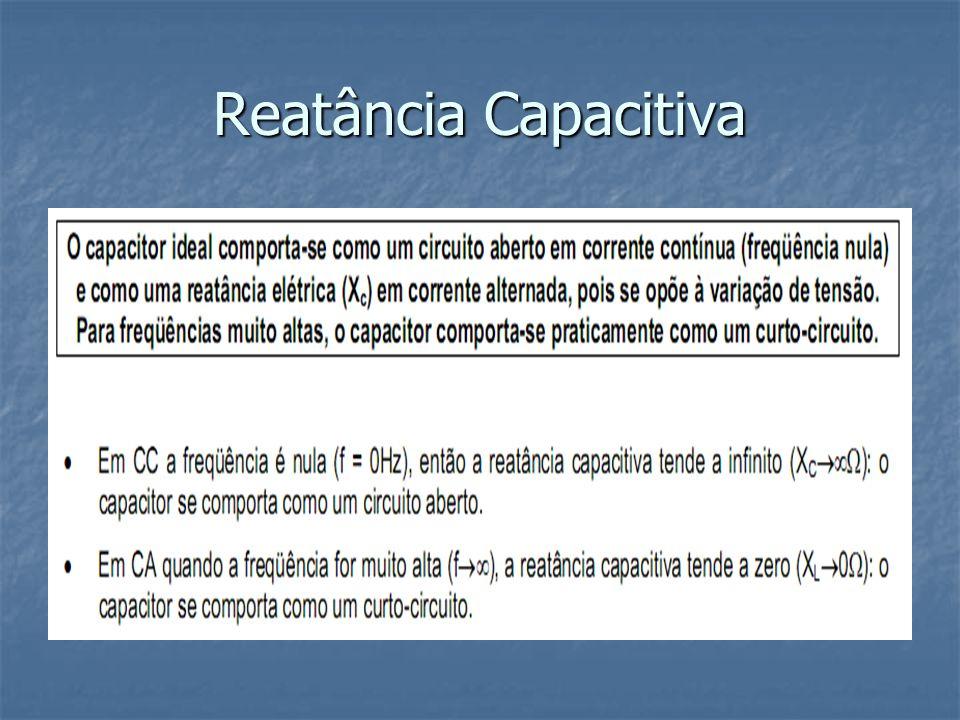 Reatância Indutiva A reatância indutiva de um indutor ideal é um número imaginário positivo pois tem a fase sempre igual a 90 graus ou tem somente parte imaginária positiva.