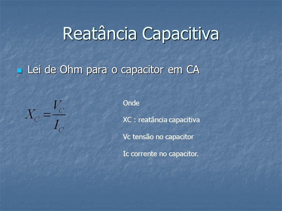 Reatância Capacitiva A reatância capacitiva de um capacitor ideal é um número imaginário,pois tem fase (argumento)sempre igual a -90 graus ou somente parte imaginária negativa.