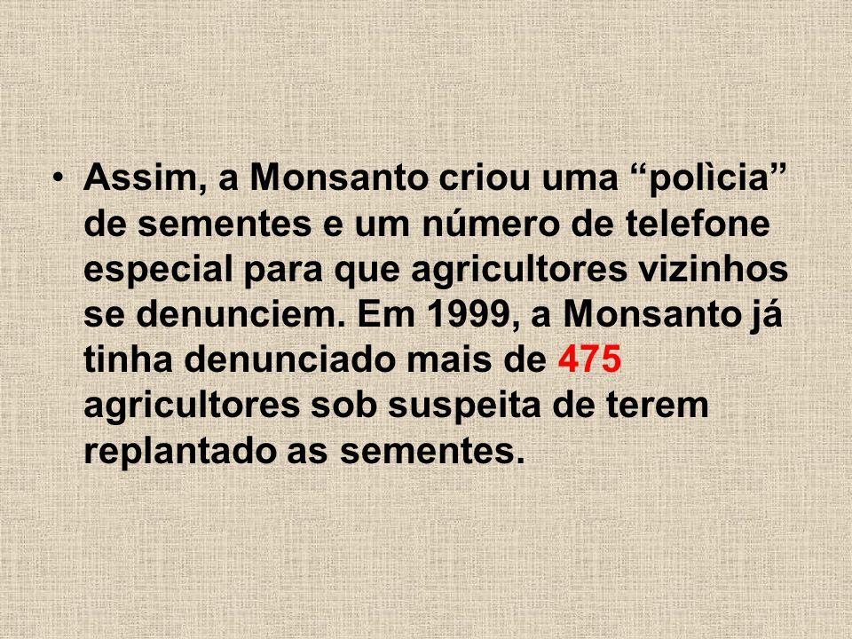 Assim, a Monsanto criou uma polìcia de sementes e um número de telefone especial para que agricultores vizinhos se denunciem.