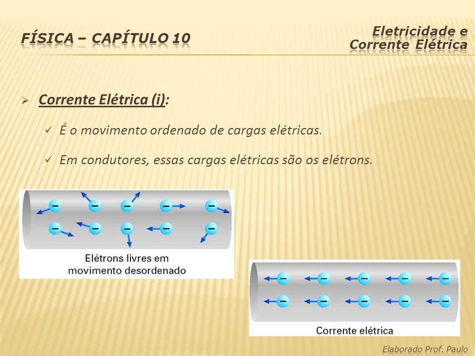  Corrente Elétrica (i): É o movimento ordenado de cargas elétricas. Em condutores, essas cargas elétricas são os elétrons.