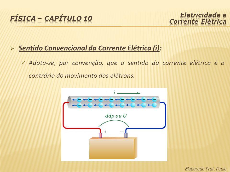  Sentido Convencional da Corrente Elétrica (i): Adota-se, por convenção, que o sentido da corrente elétrica é o contrário do movimento dos elétrons.