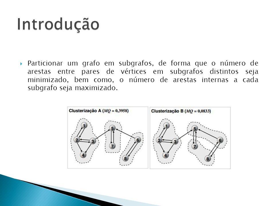  Particionar um grafo em subgrafos, de forma que o número de arestas entre pares de vértices em subgrafos distintos seja minimizado, bem como, o número de arestas internas a cada subgrafo seja maximizado.