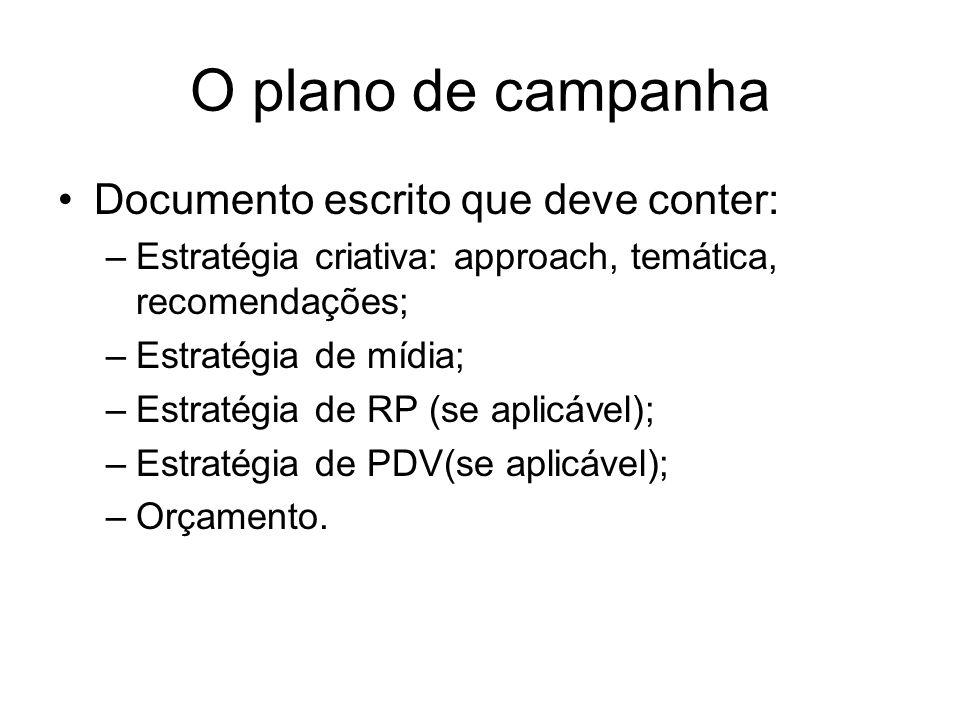 O plano de campanha Documento escrito que deve conter: –Estratégia criativa: approach, temática, recomendações; –Estratégia de mídia; –Estratégia de R