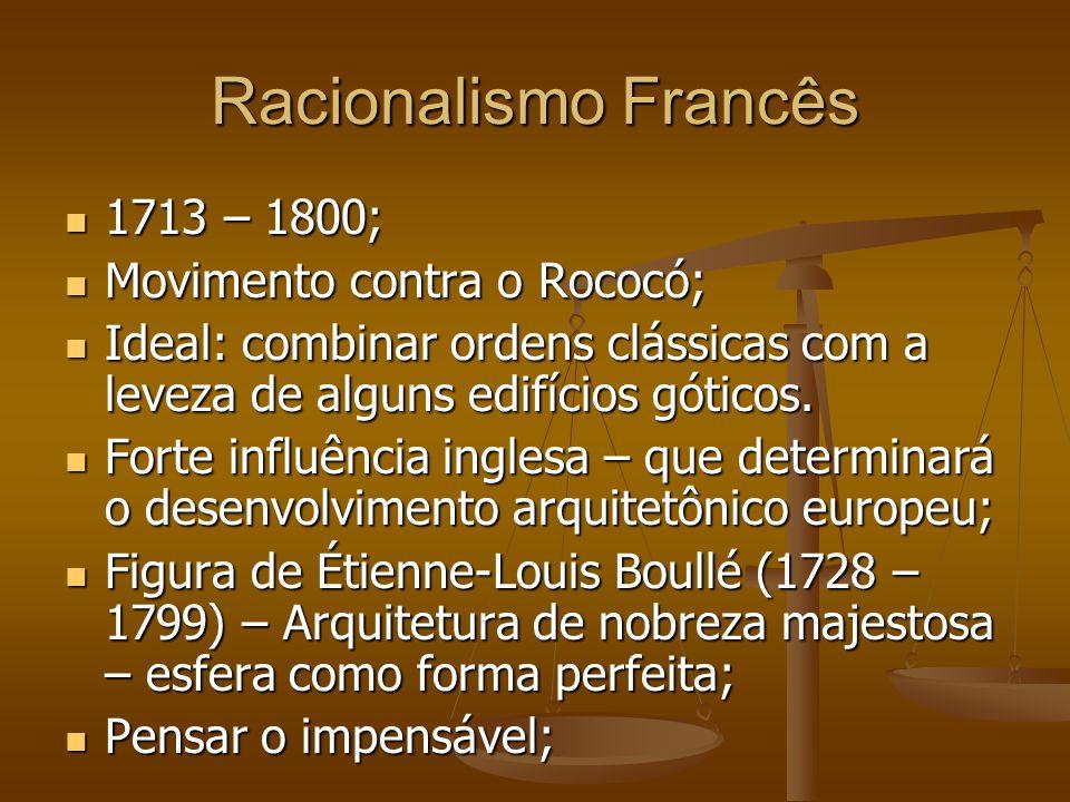 Racionalismo Francês 1713 – 1800; 1713 – 1800; Movimento contra o Rococó; Movimento contra o Rococó; Ideal: combinar ordens clássicas com a leveza de