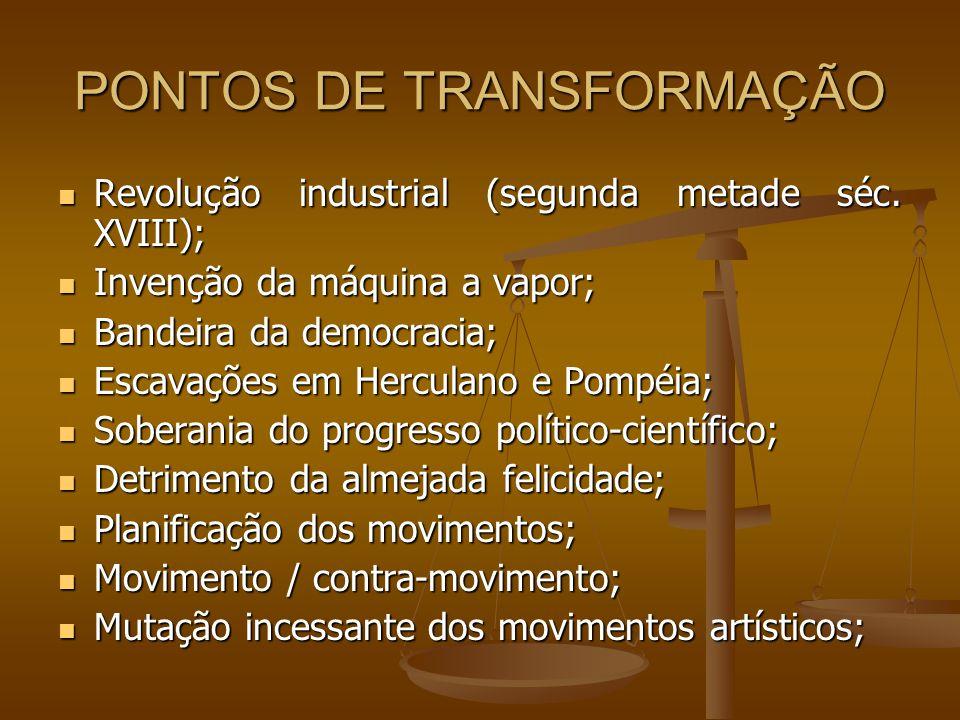 PONTOS DE TRANSFORMAÇÃO Revolução industrial (segunda metade séc. XVIII); Revolução industrial (segunda metade séc. XVIII); Invenção da máquina a vapo