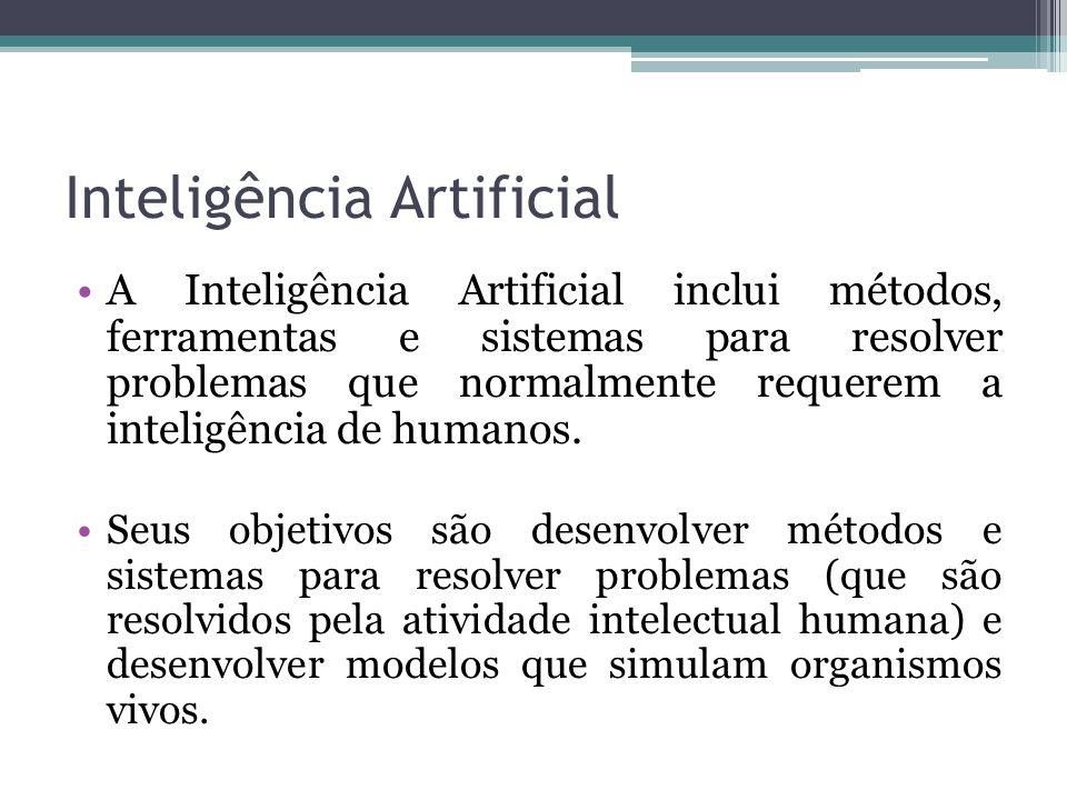 Inteligência Artificial A Inteligência Artificial inclui métodos, ferramentas e sistemas para resolver problemas que normalmente requerem a inteligênc