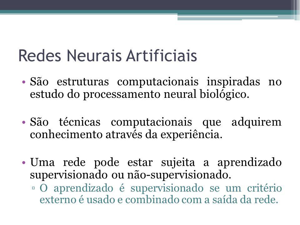 Redes Neurais Artificiais São estruturas computacionais inspiradas no estudo do processamento neural biológico. São técnicas computacionais que adquir