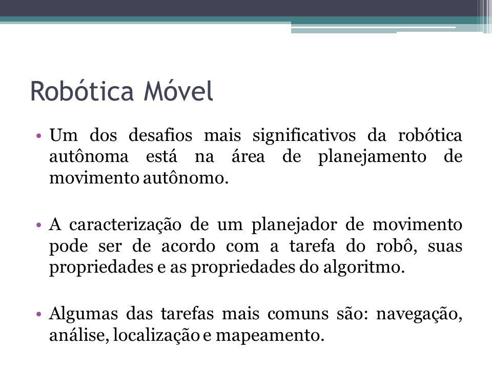 Robótica Móvel Um dos desafios mais significativos da robótica autônoma está na área de planejamento de movimento autônomo. A caracterização de um pla