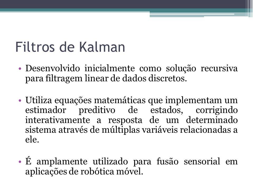 Filtros de Kalman Desenvolvido inicialmente como solução recursiva para filtragem linear de dados discretos. Utiliza equações matemáticas que implemen