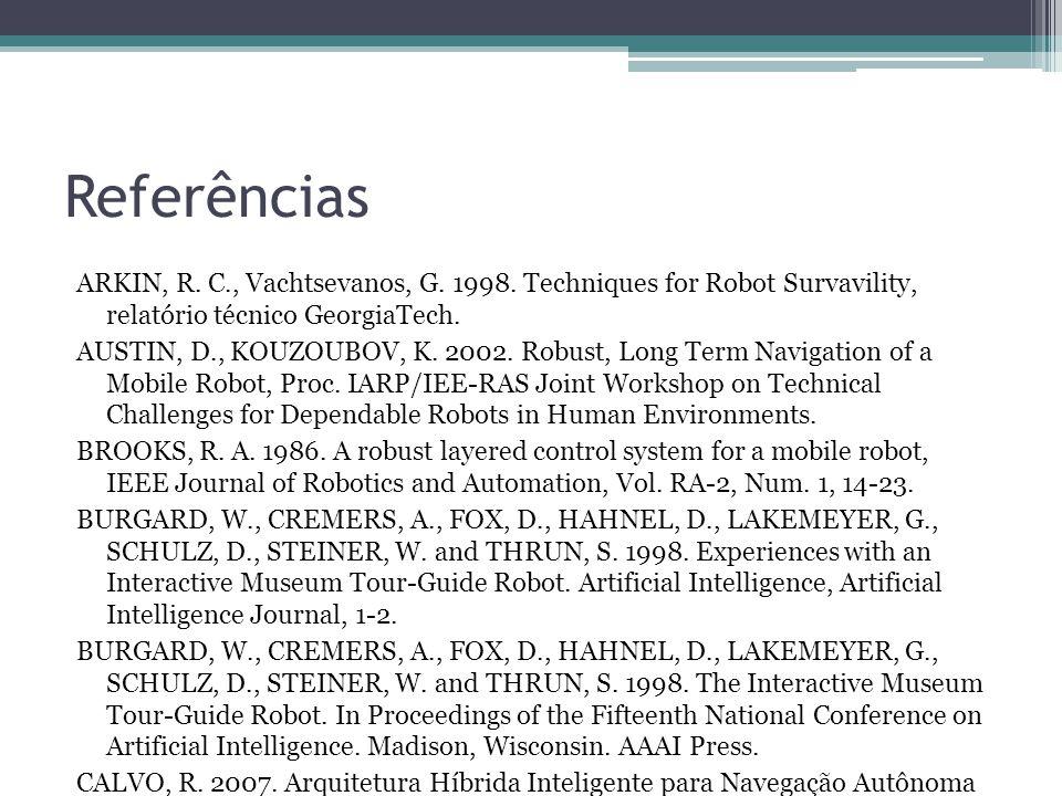 Referências ARKIN, R. C., Vachtsevanos, G. 1998. Techniques for Robot Survavility, relatório técnico GeorgiaTech. AUSTIN, D., KOUZOUBOV, K. 2002. Robu