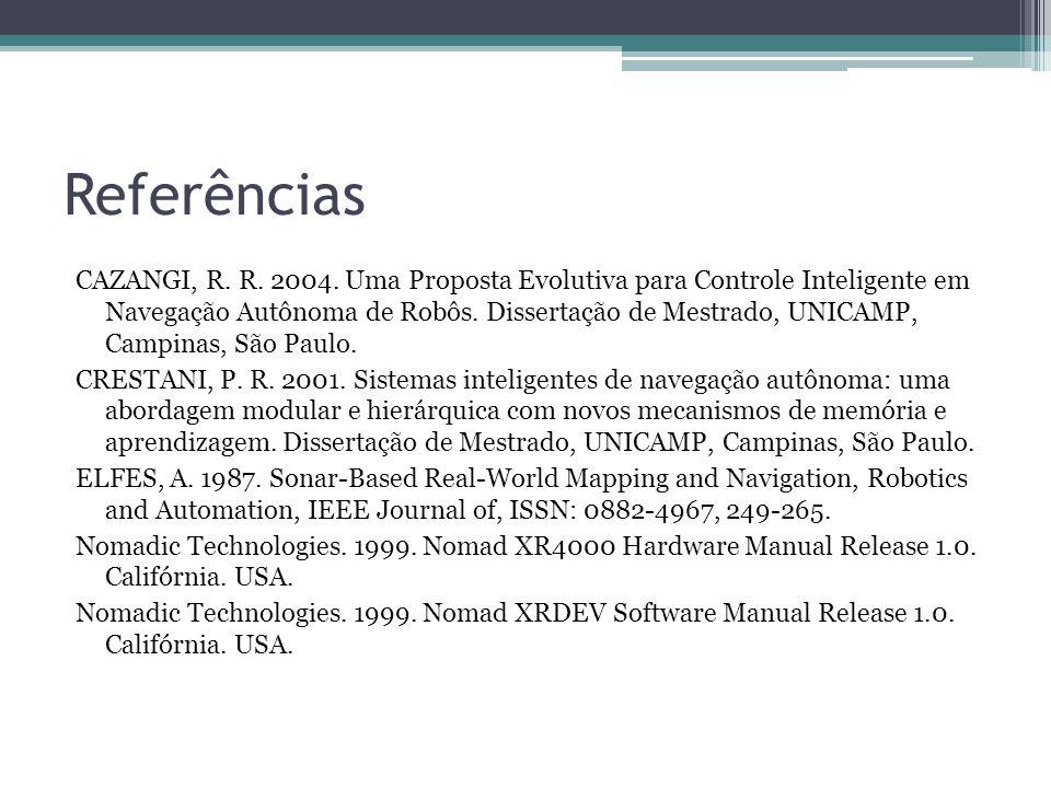 Referências CAZANGI, R. R. 2004. Uma Proposta Evolutiva para Controle Inteligente em Navegação Autônoma de Robôs. Dissertação de Mestrado, UNICAMP, Ca