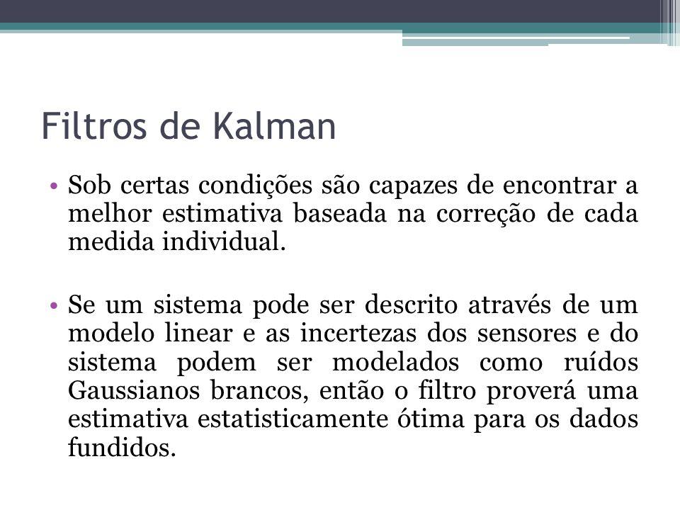 Filtros de Kalman Sob certas condições são capazes de encontrar a melhor estimativa baseada na correção de cada medida individual. Se um sistema pode