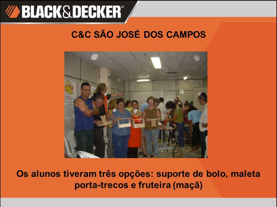 C&C SÃO JOSÉ DOS CAMPOS Os alunos tiveram três opções: suporte de bolo, maleta porta-trecos e fruteira (maçã)