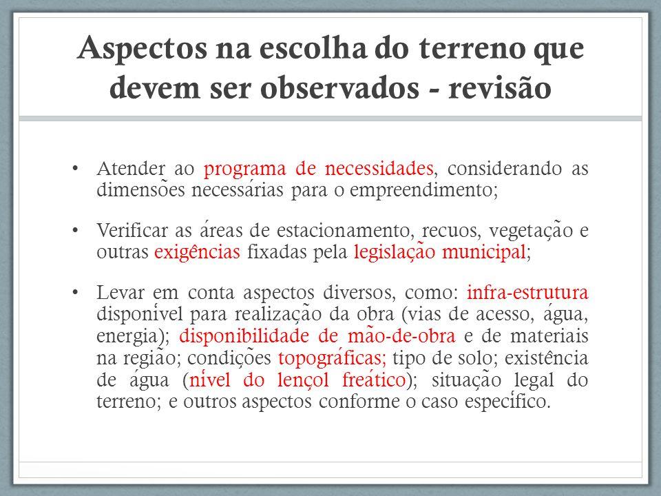 Aspectos na escolha do terreno que devem ser observados - revisão Atender ao programa de necessidades, considerando as dimenso ̃ es necessarias para o