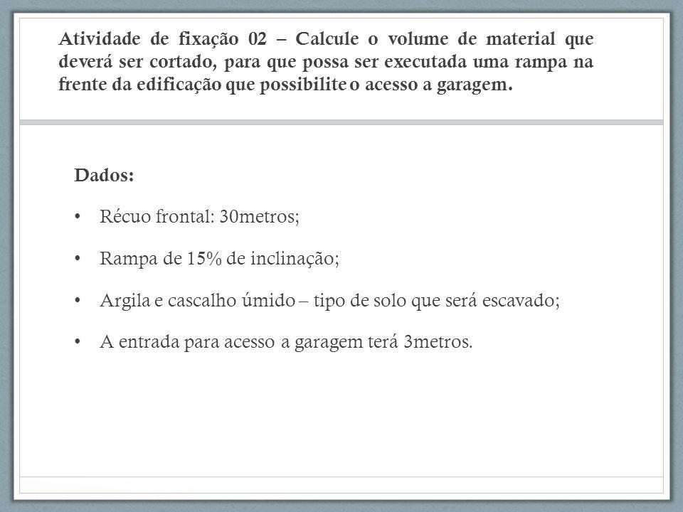 Atividade de fixação 02 – Calcule o volume de material que deverá ser cortado, para que possa ser executada uma rampa na frente da edificação que poss