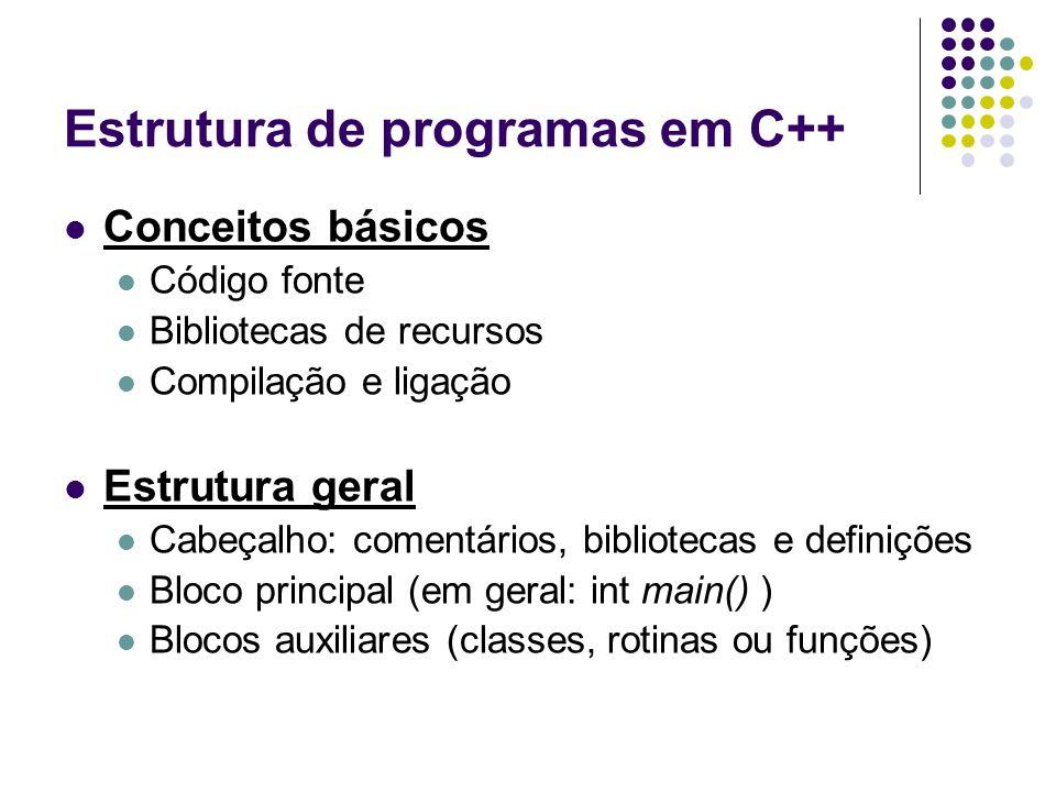 Estrutura de programas em C++ Conceitos básicos Código fonte Bibliotecas de recursos Compilação e ligação Estrutura geral Cabeçalho: comentários, bibl