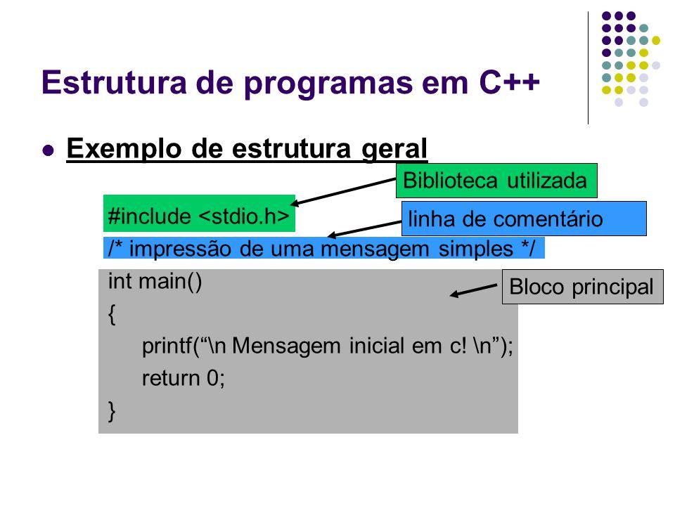 """Estrutura de programas em C++ Exemplo de estrutura geral #include /* impressão de uma mensagem simples */ int main() { printf(""""\n Mensagem inicial em"""