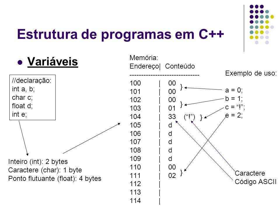 Estrutura de programas em C++ Variáveis //declaração: int a, b; char c; float d; int e; Memória: Endereço| Conteúdo ------------------------------ 100