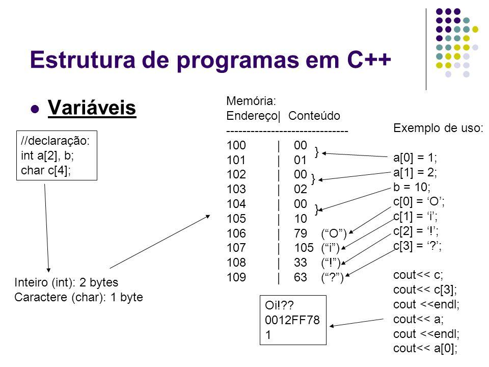 Estrutura de programas em C++ Variáveis //declaração: int a[2], b; char c[4]; Memória: Endereço| Conteúdo ------------------------------ 100 | 00 101