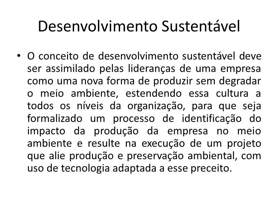 Desenvolvimento Sustentável O conceito de desenvolvimento sustentável deve ser assimilado pelas lideranças de uma empresa como uma nova forma de produ