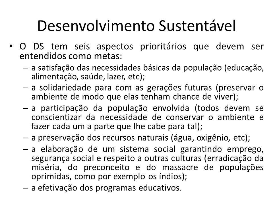Desenvolvimento Sustentável O DS tem seis aspectos prioritários que devem ser entendidos como metas: – a satisfação das necessidades básicas da popula