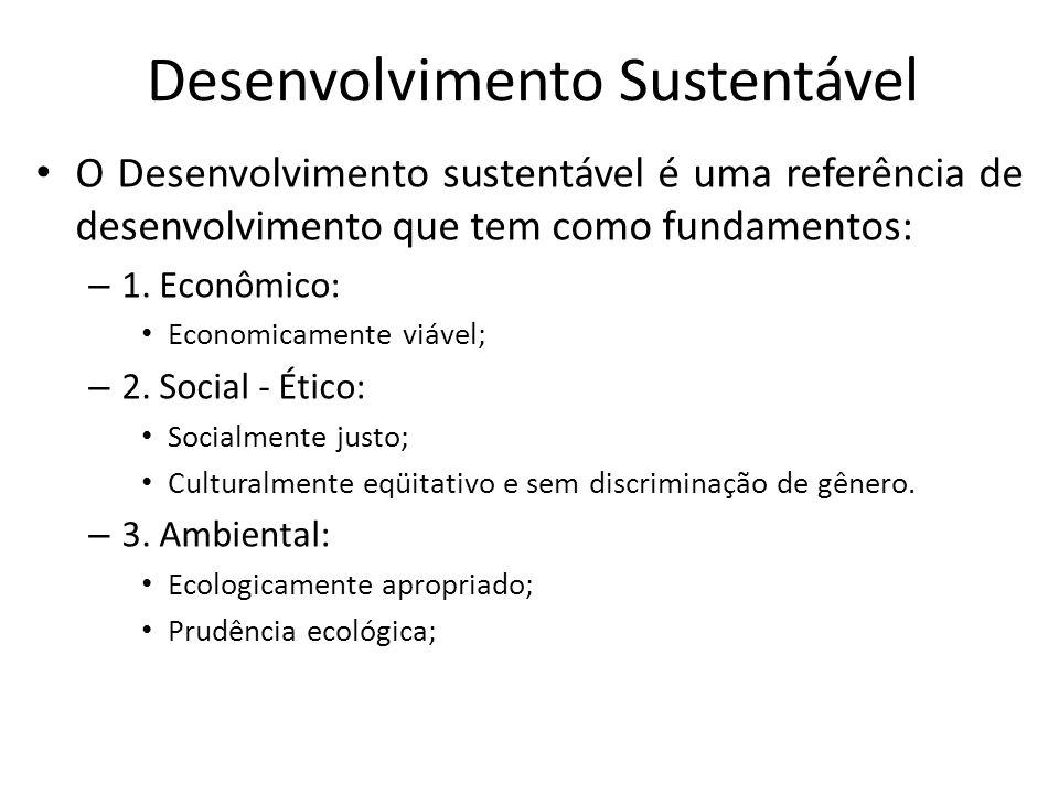 Desenvolvimento Sustentável O Desenvolvimento sustentável é uma referência de desenvolvimento que tem como fundamentos: – 1. Econômico: Economicamente