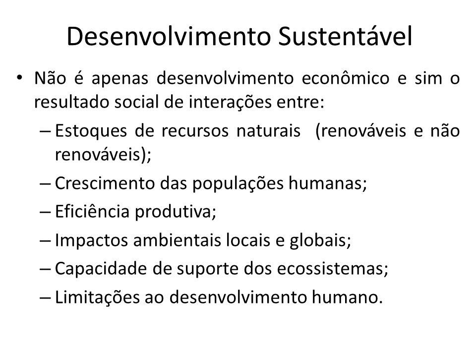 Desenvolvimento Sustentável Não é apenas desenvolvimento econômico e sim o resultado social de interações entre: – Estoques de recursos naturais (reno