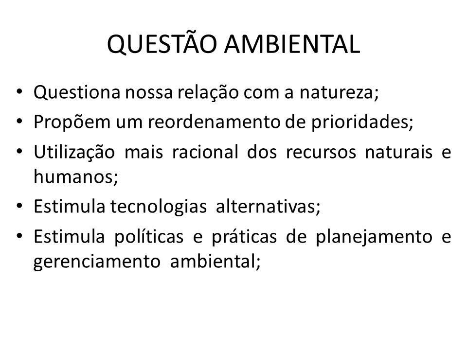 QUESTÃO AMBIENTAL Questiona nossa relação com a natureza; Propõem um reordenamento de prioridades; Utilização mais racional dos recursos naturais e hu