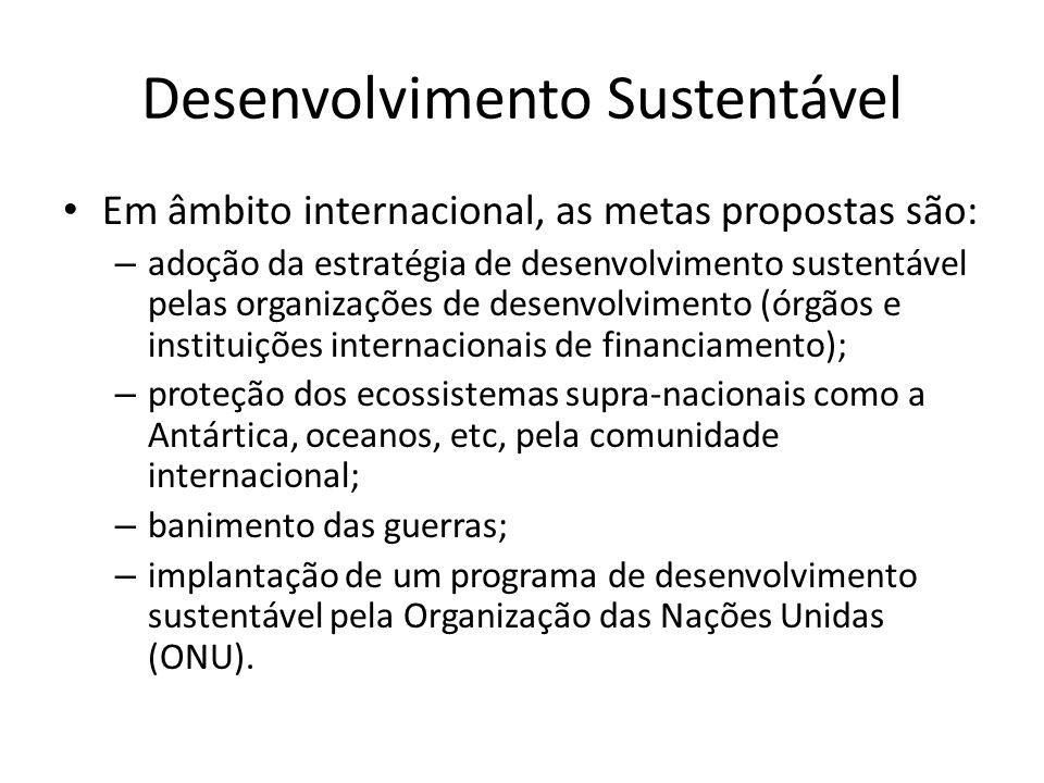 Desenvolvimento Sustentável Em âmbito internacional, as metas propostas são: – adoção da estratégia de desenvolvimento sustentável pelas organizações
