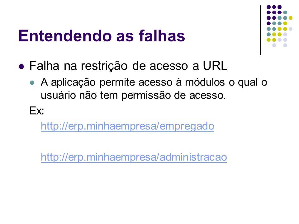 Entendendo as falhas Falha na restrição de acesso a URL A aplicação permite acesso à módulos o qual o usuário não tem permissão de acesso. Ex: http://