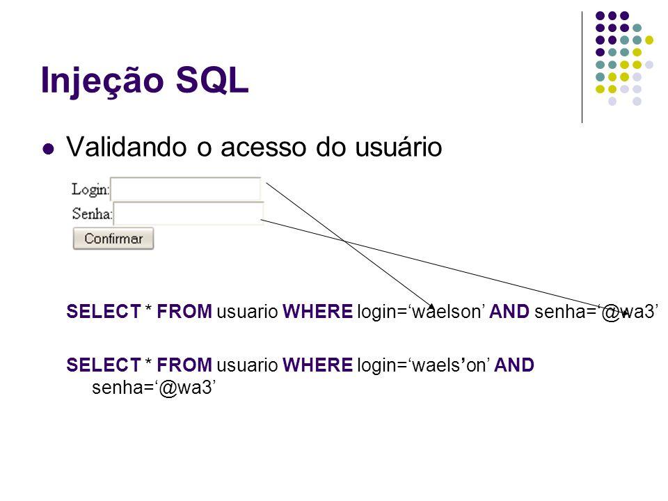Injeção SQL Validando o acesso do usuário SELECT * FROM usuario WHERE login='waelson' AND senha='@wa3' SELECT * FROM usuario WHERE login='waels'on' AN