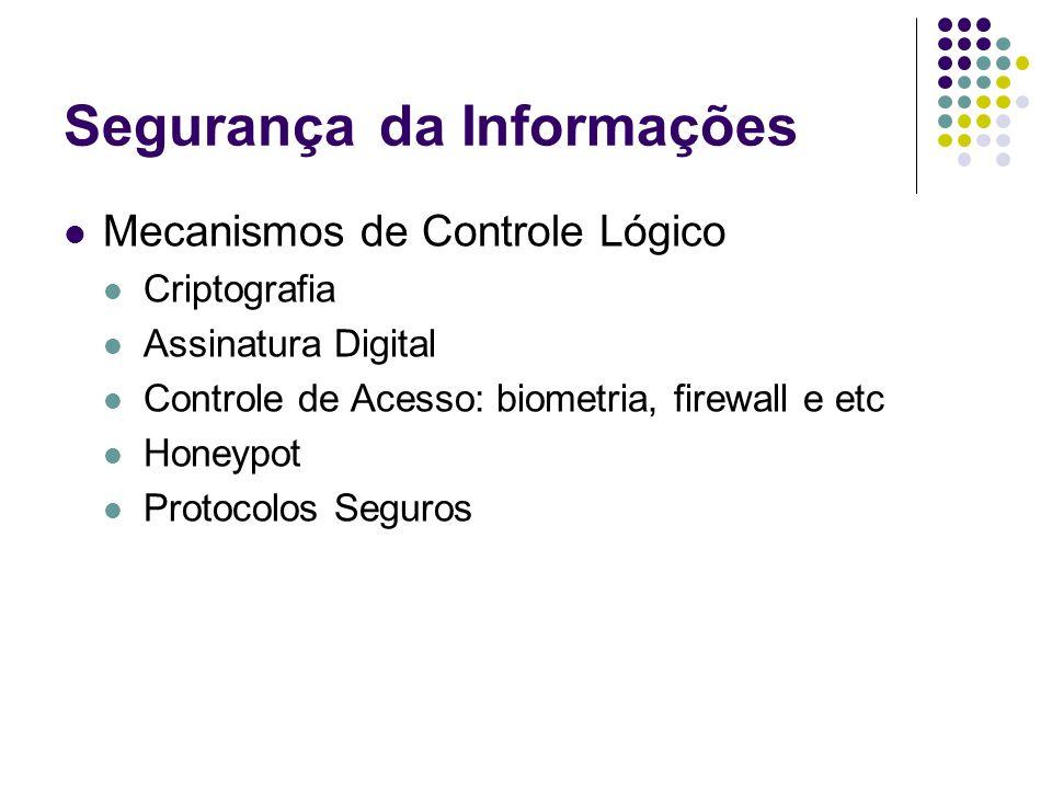 Segurançada Informações Mecanismos de Controle Lógico Criptografia Assinatura Digital Controle de Acesso: biometria, firewall e etc Honeypot Protocolo