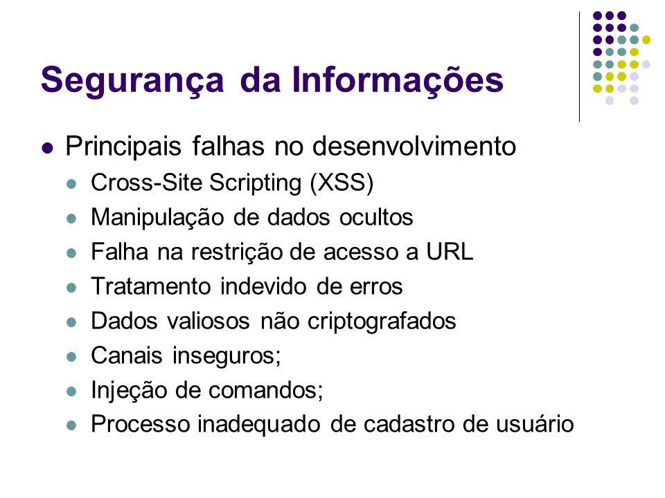 Segurançada Informações Principais falhas no desenvolvimento Cross-Site Scripting (XSS) Manipulação de dados ocultos Falha na restrição de acesso a URL Tratamento indevido de erros Dados valiosos não criptografados Canais inseguros; Injeção de comandos; Processo inadequado de cadastro de usuário