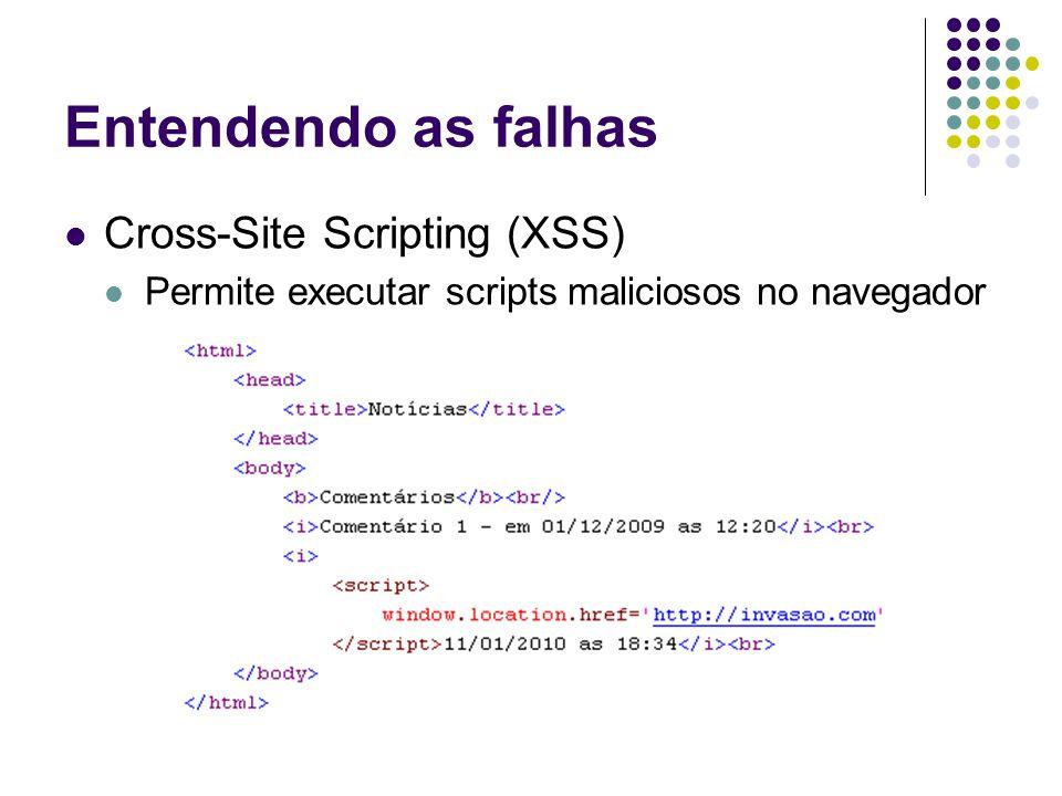 Injeção SQL Validando o acesso do usuário SELECT * FROM usuario WHERE login='waelson' AND senha='@wa3' SELECT * FROM usuario WHERE login='waels'on' AND senha='@wa3'