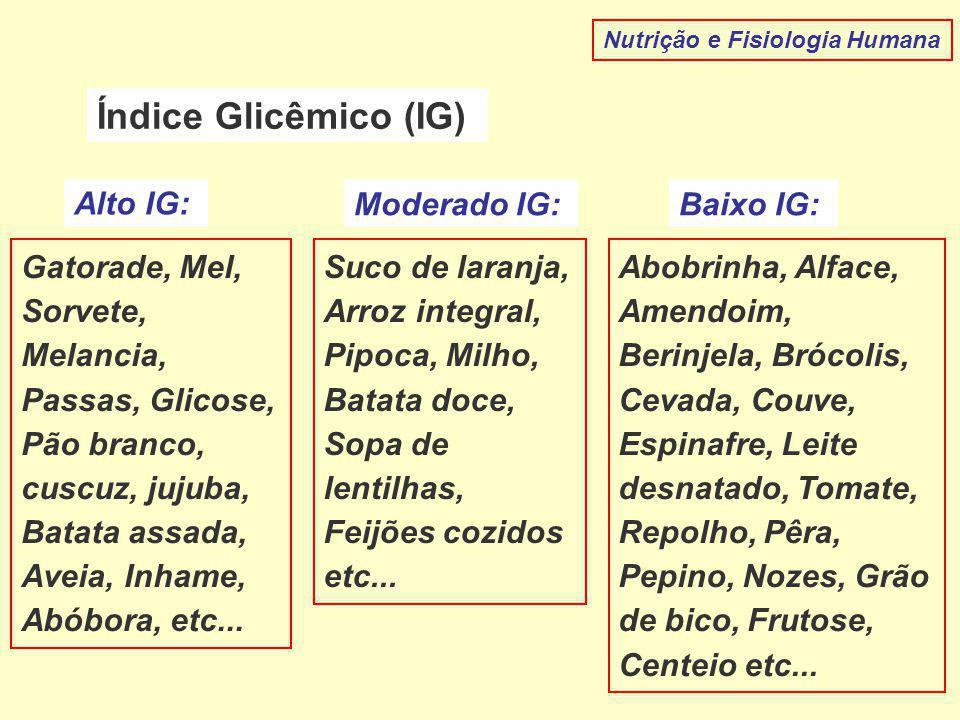 Nutrição e Fisiologia Humana Índice Glicêmico (IG) Alto IG: Moderado IG:Baixo IG: Gatorade, Mel, Sorvete, Melancia, Passas, Glicose, Pão branco, cuscuz, jujuba, Batata assada, Aveia, Inhame, Abóbora, etc...