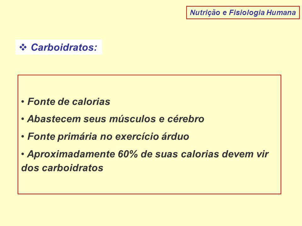 Carboidratos: Nutrição e Fisiologia Humana Fonte de calorias Abastecem seus músculos e cérebro Fonte primária no exercício árduo Aproximadamente 60% de suas calorias devem vir dos carboidratos