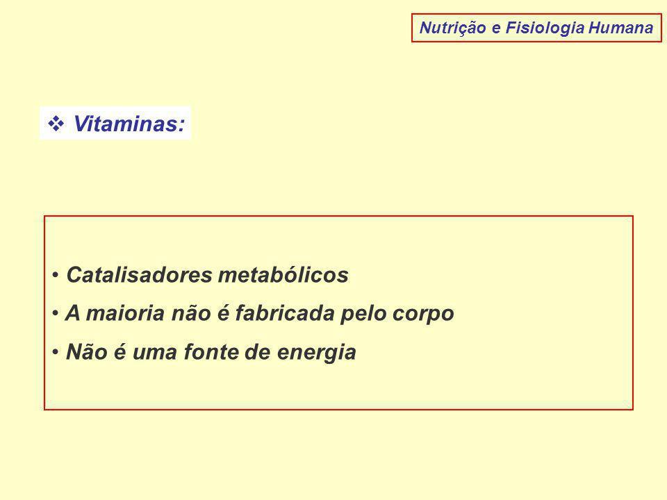  Vitaminas: Catalisadores metabólicos A maioria não é fabricada pelo corpo Não é uma fonte de energia Nutrição e Fisiologia Humana