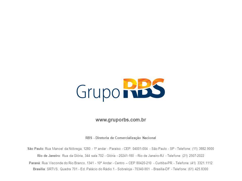 RBS - Diretoria de Comercialização Nacional www.gruporbs.com.br São Paulo: Rua Manoel da Nóbrega, 1280 - 1º andar - Paraíso - CEP: 04001-004 - São Pau