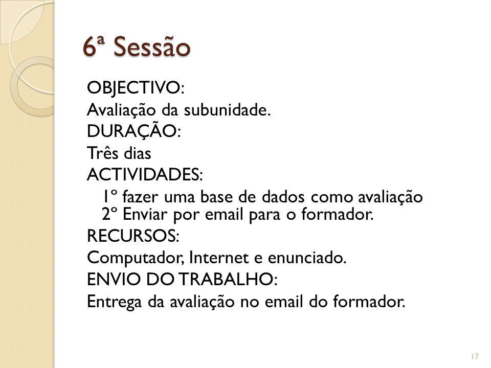 6ª Sessão OBJECTIVO: Avaliação da subunidade.