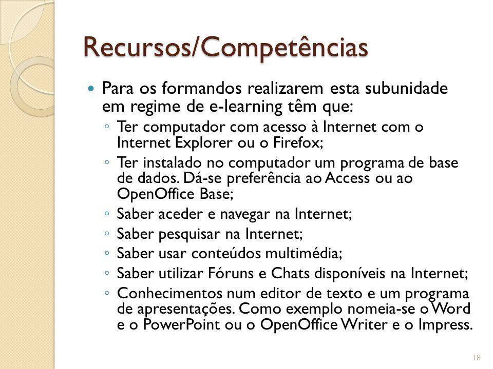 Recursos/Competências Para os formandos realizarem esta subunidade em regime de e-learning têm que: ◦ Ter computador com acesso à Internet com o Internet Explorer ou o Firefox; ◦ Ter instalado no computador um programa de base de dados.