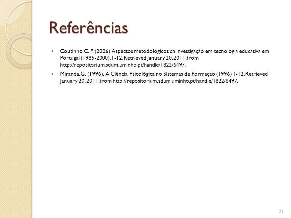 Referências Coutinho, C.P. (2006).