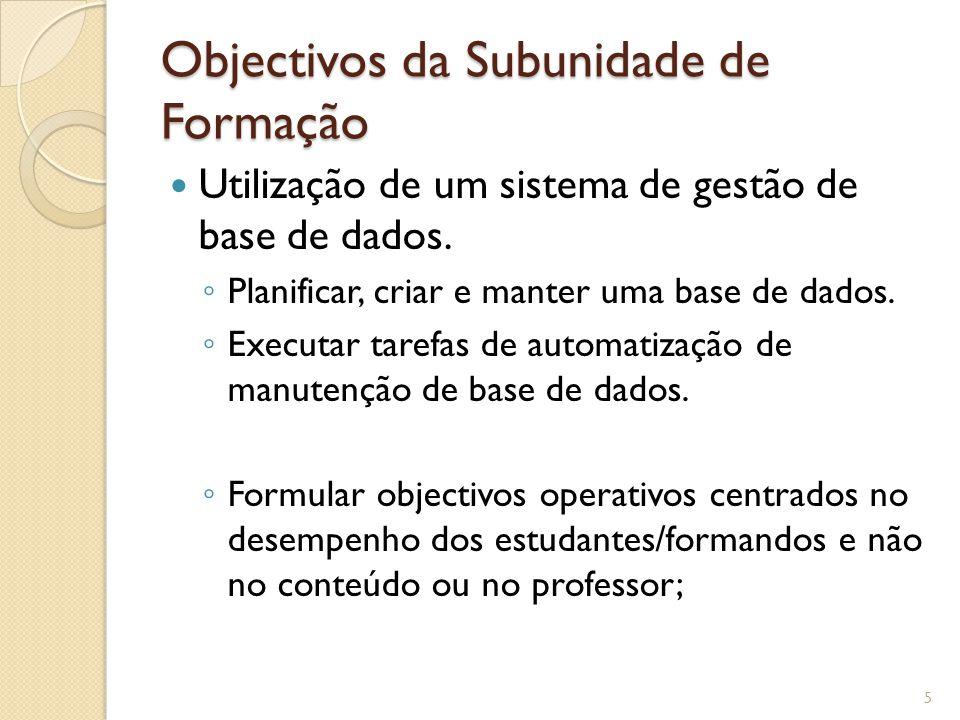 Objectivos da Subunidade de Formação Utilização de um sistema de gestão de base de dados.