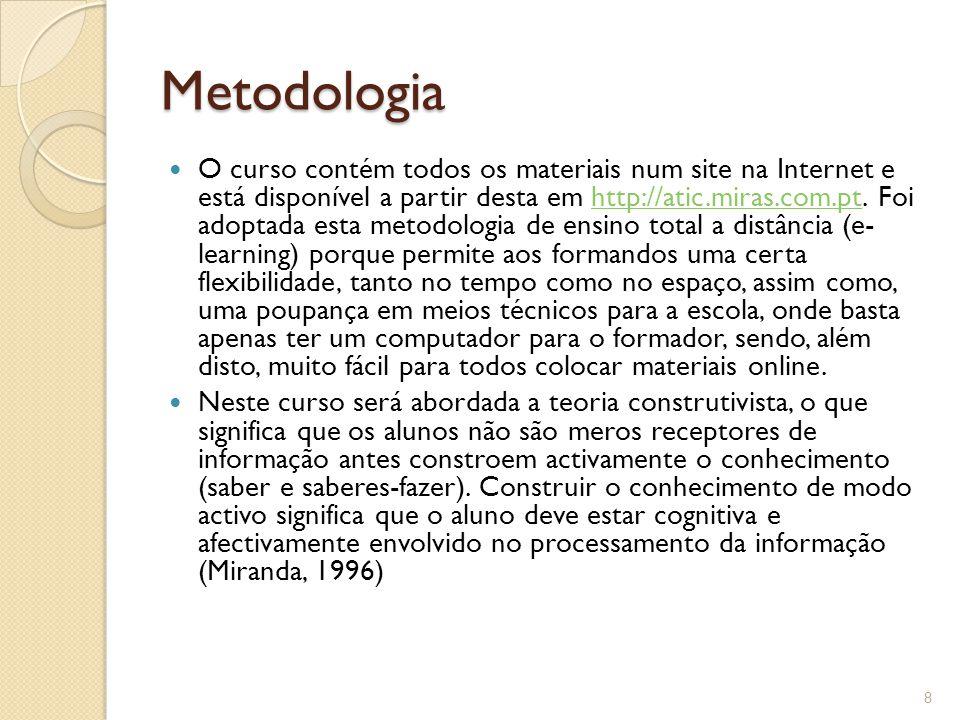 Metodologia O curso contém todos os materiais num site na Internet e está disponível a partir desta em http://atic.miras.com.pt.