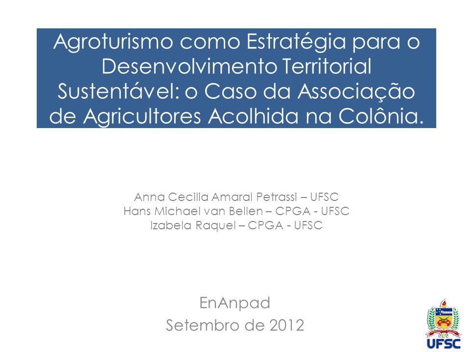Contextualização Desenvolvimento Teoria Atividade Desenvolvimento Territorial Sustentável Agroturismo Caso: Associação de Agricultores Acolhida na Colônia Caso: Associação de Agricultores Acolhida na Colônia
