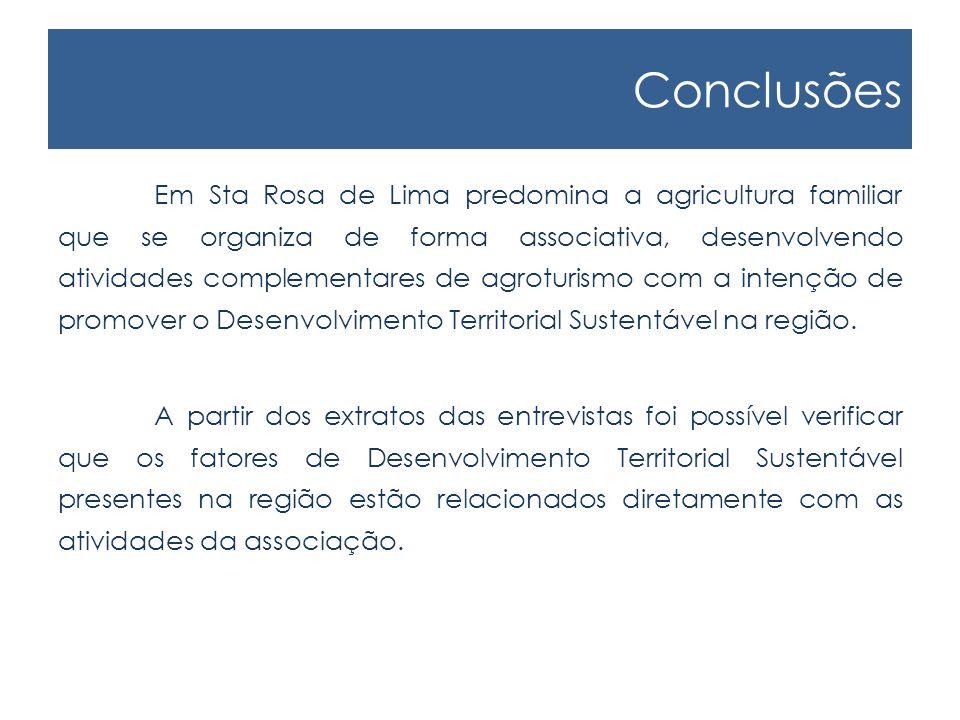 Conclusões Em Sta Rosa de Lima predomina a agricultura familiar que se organiza de forma associativa, desenvolvendo atividades complementares de agroturismo com a intenção de promover o Desenvolvimento Territorial Sustentável na região.